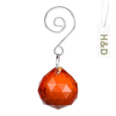 Natural Orange Crystal Ball Prisms Chandelier Lighting Lamp Drops Pendants 30mm