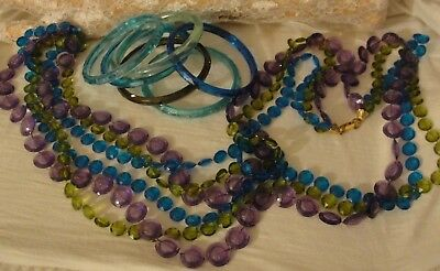 Vintage Lot Of 7 Blue, Purple And Green Plastic Bangle Bracelets And Necklace