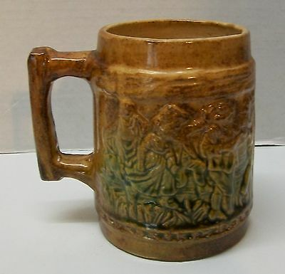 People Dancing Playing Instruments and Dog Antique Mug Marked BRUSH MARE DDEF