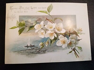 Old Christmas Card of Pear or Maybe Apple Blossoms-Moon Shining on Rowboat