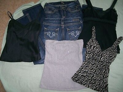 """express"" Lot Of Woman's Clothes-2 Pr Jeans Size 2 & 4 Tops - Size Small Nice!!!"