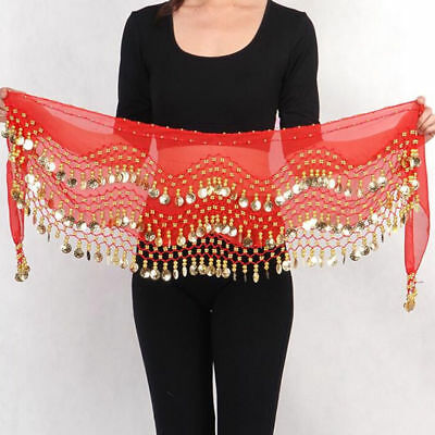 Red Chiffon Belly Dance Hip Skirt Scarf Wrap Belt Hipscarf With Gold Coins US