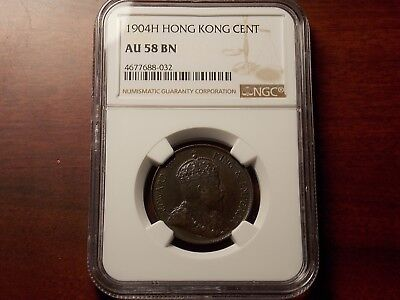 1904 H Hong Kong Cent coin NGC AU-58