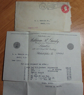 1910 Letterhead & Envelope William R Gardy Manuf & Wholesale Lumber Philadelphia