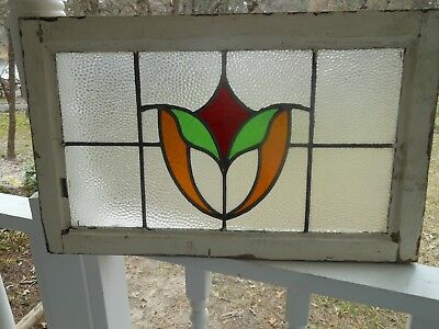 L-212 Lovely Older Leaded Stained Glass Window F/England   26 W X 16 T