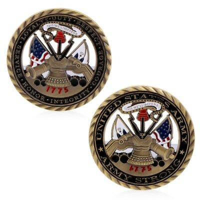 US Army Core Values Golden Commemorative Challenge Coin Collection Art Gift