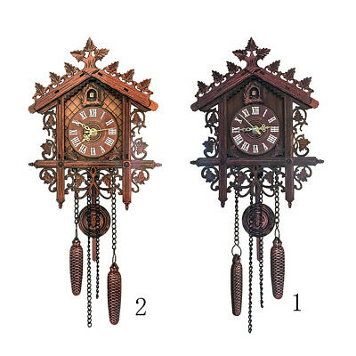 2Pcs Retro Collectible Handcrafted Wood Cuckoo Wall Clock with Pendulum