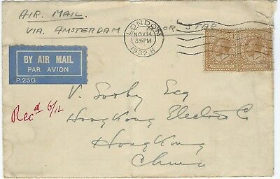 Great Britain 1932 airmail cover to Hong Kong via Netherlands Singapore