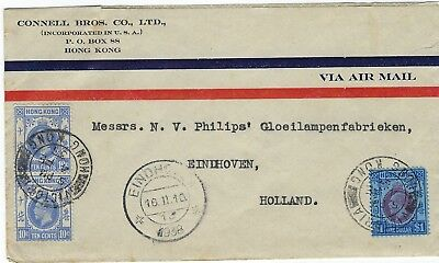 Hong Kong 1938 airmail cover Victoria to Netherlands