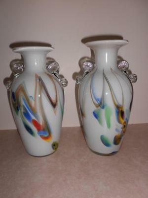 X 2 Large Vintage Colourful Cased Glass Vases -With Applied Handles