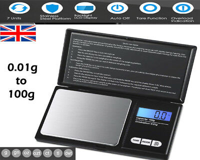 0.01 to 100g Electronic Mini Digital Weighing Gold Diamond Jewelry Pocket Scales