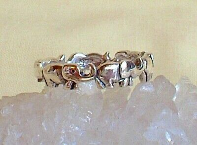 Lucky Small Elephant Ring Sterling Silver Pagan Reiki Charged Strength Loyalty