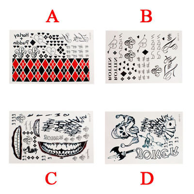 Halloween Batman Cosplay Suicide Squad Harley Quinn Temporary Tattoo Stickers UK
