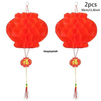 2pcs Chinese Red Lanterns For New Year Chinese Spring Festival Wedding EH7E 01