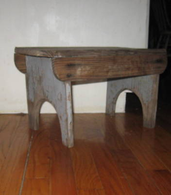 Awesome Antique Early Primitive Bench Handsome Form, Old Dry Blue Paint Aafa Nr