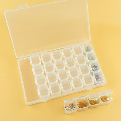 KQ_ 28 Compartment Nail Art Rhinestone Jewelry Decorations Storage Box Flowery
