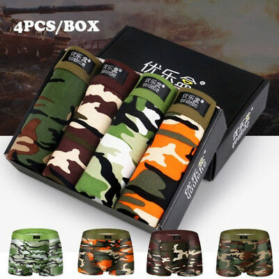 4Pcs Camouflage Pouch Long Underwear Boxer Shorts Underpants For Men And Boys
