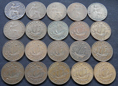 Great Britain (Uk), 20 Different Half Penny Coins 1902 To 1965