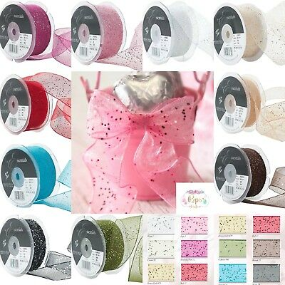 Berisfords Sparkly Random Glitter Wired Ribbon 15mm 25mm 40mm Widths Crafts
