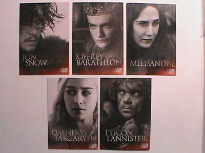 Very Rare !! 2014 Mini Set Of 5 Cards Game Of Thrones !! Very Hard To Get !!