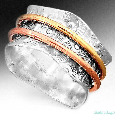 925 Sterling Silver Spinner Ring Two Tone Wide Band Retro Textured Size 6 7 8 9