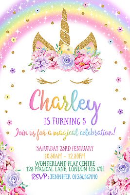 10 UNICORN RAINBOW Party Invitations Personalised Invites Birthday
