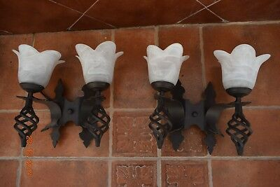 Vintage  French  Large Gothic Wall Lamps  Cast Metal