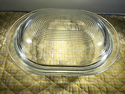 VINTAGE CORNING PYREX CLEAR GLASS OVAL 8 COVERED CASSEROLE DISH 700 Ml