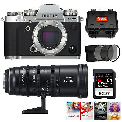 Fujifilm X-T3 Mirrorless Camera (Silver) with 50-135mm Lens Accessory Bundle