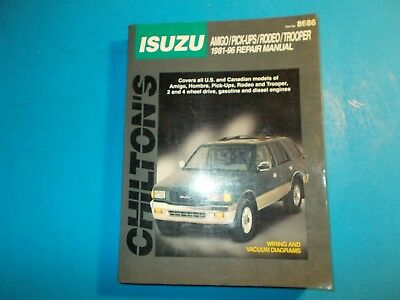 1981-1996 Chilton's Isuzu Amigo Pickups Rodeo Trooper Repair Manual Used