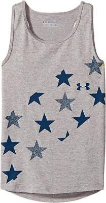 Under Armour Girls Gray & Navy Blue Stars Dry Fit Tank Top Size 4