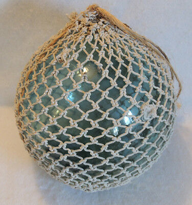 Vintage Large 32 Inch in circumference Japanese Glass Fishing Float W Full Net