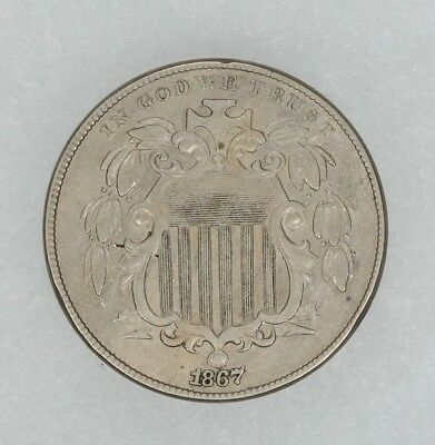 1867 Shield Nickel 5C No Rays Reverse Planchet Flaw About Uncirculated (8379)