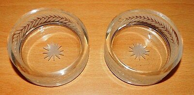 Matching Pair Of Vintage Hand Etched Glass Dishes