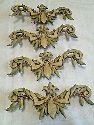 4 Victorian Antique Cast Iron Curtain Swing Arm Rod Centerpiece Plate medallions