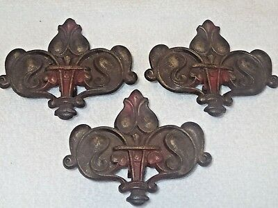 3 Judd Victorian Antique Cast Iron Curtain Swing Arm Rod Centerpiece medallions
