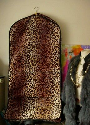 Vintage LEOPARD Print GARMENT BAG Tote Travel Suitcase Luggage Keepall Accessory