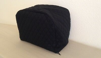 Black Quilted 2 Slice Zipper Toaster Dust Cover Handmade