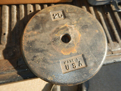 """Older Usa Made Pancake 25 Lbs Pound Weight Plate For 1"""" Diameter Bars"""