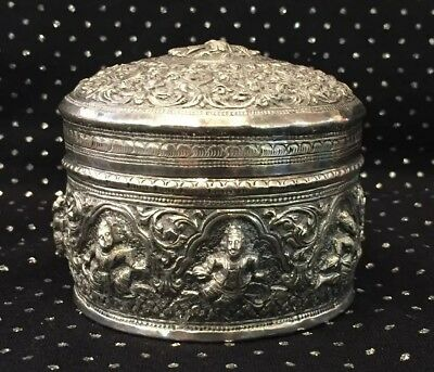 Antique Burmese Sterling Silver Hand Made  Repousee Peacock & Goddess Box / Jar