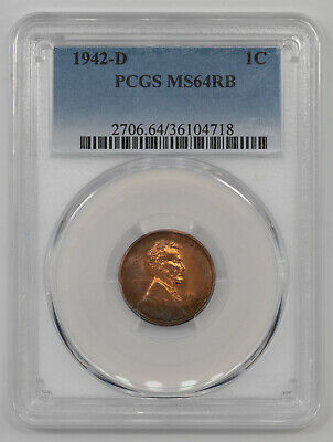 1942 D Lincoln Wheat Cent Penny 1C Pcgs Certified Ms 64 Rb Color Toning (718)