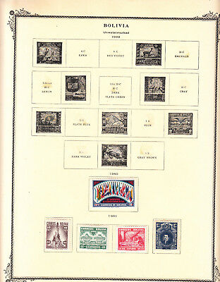 Bolivia - 1940/1951 stamp collection on Scott  pages