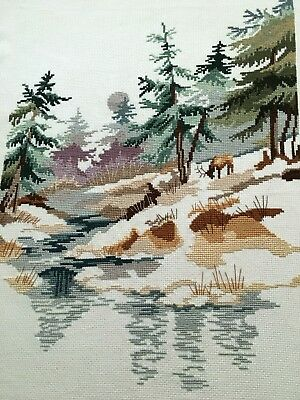 "Woodland Scene with Elk Finished Completed Cross Stitch Embroidery ~ 14"" x 18"""