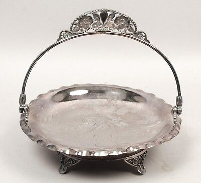 Antique Victorian 1870s/80s Pairpoint Aesthetic Silver SP Floral Bride's Basket