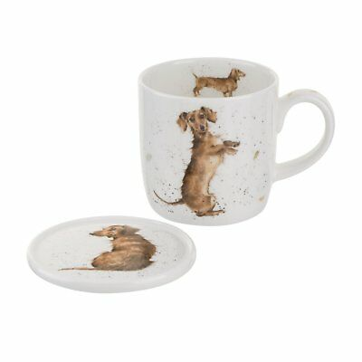 Wrendale By Royal Worcester - Bone China Mug and Coaster - Hello Sausage