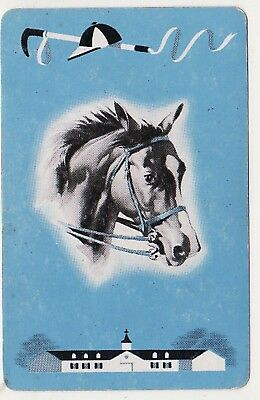 DECO HORSES RACING BLANK BACK #1e [BLUE] Single Vintage Swap/Playing Card