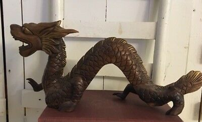 """Vintage Large 20"""" Hand Carved Asian Gold Toned  Wood Dragon Oriental chinese"""