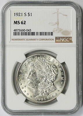 1921-S Morgan Dollar Silver $1 MS 62 NGC