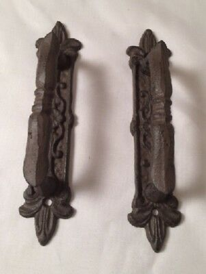 Cast Iron Large Gate Door Pull Ornate Vintage Victorian (Set of Two) 0184-0015