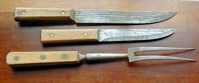 Old Barely Used Forged Chef Fork & 2 Carbon Steel Kitchen Knife Utility Knives